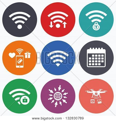 Wifi, mobile payments and drones icons. Wifi Wireless Network icons. Wi-fi zone locked symbols. Password protected Wi-fi sign. Calendar symbol.