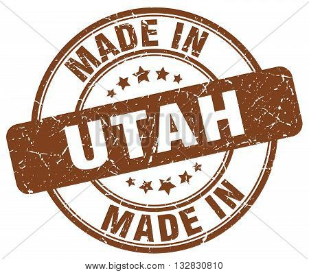 made in Utah brown round vintage stamp.Utah stamp.Utah seal.Utah tag.Utah.Utah sign.Utah.Utah label.stamp.made.in.made in.