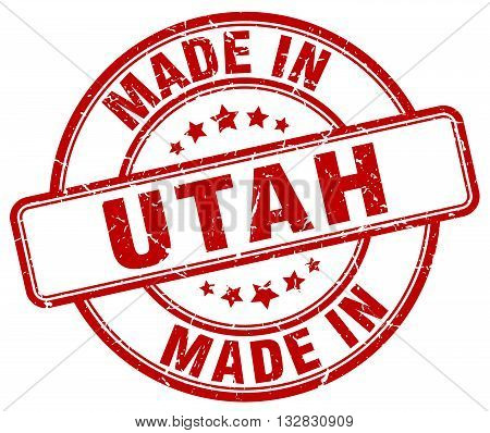 made in Utah red round vintage stamp.Utah stamp.Utah seal.Utah tag.Utah.Utah sign.Utah.Utah label.stamp.made.in.made in.