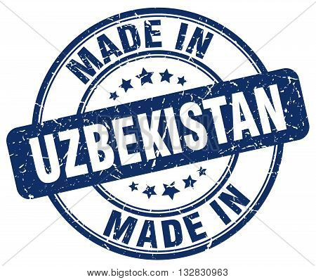made in Uzbekistan blue round vintage stamp.Uzbekistan stamp.Uzbekistan seal.Uzbekistan tag.Uzbekistan.Uzbekistan sign.Uzbekistan.Uzbekistan label.stamp.made.in.made in.