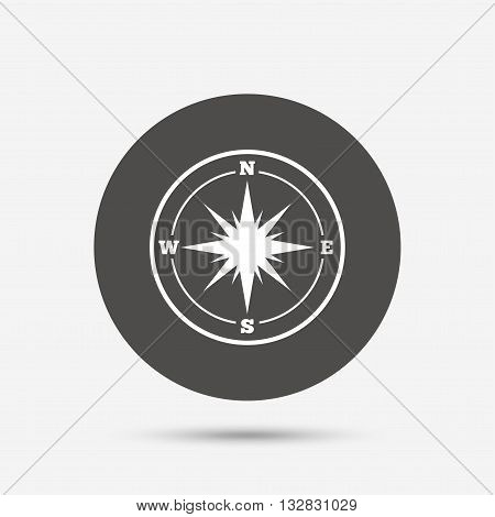 Compass sign icon. Windrose navigation symbol. Gray circle button with icon. Vector