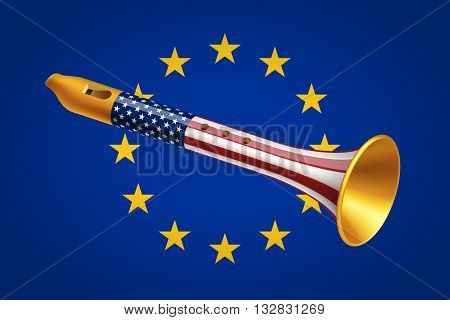 Golden fife with USA flag on European Union flag background. Geopolitical interaction of USA and EU and foreign policy concept