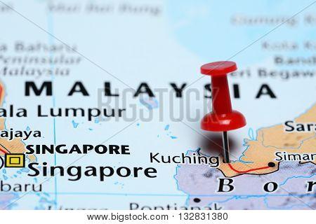 Kuching pinned on a map of Malaysia