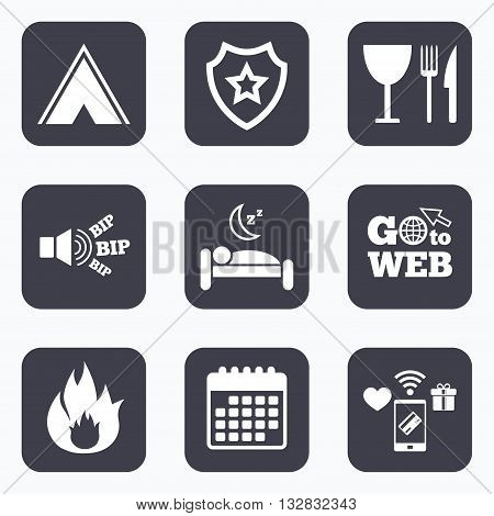 Mobile payments, wifi and calendar icons. Food, sleep, camping tent and fire icons. Knife, fork and wineglass. Hotel or bed and breakfast. Road signs. Go to web symbol.