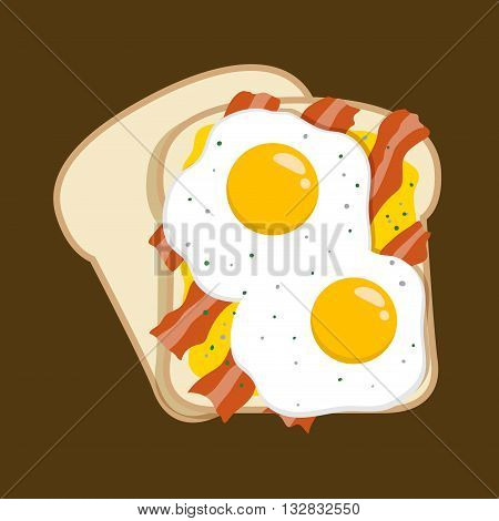 Vector stock of delicious tasty egg and bacon sandwich