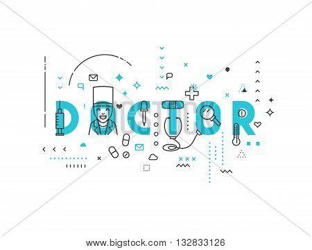 Medicine concept design doctor. Creative design elements for websites, mobile apps and printed materials. Medicine banner design