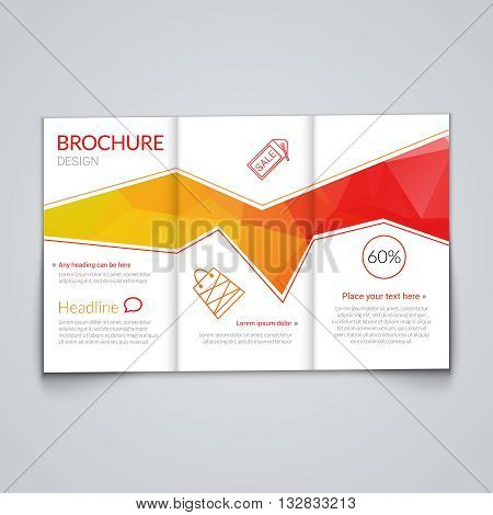 Tri-fold brochure design template with modern polygonal background on white.