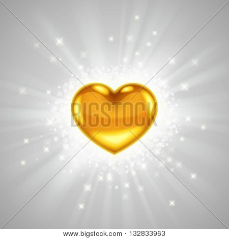 Gold heart in bright light radiance with glitters sparkles and beams around