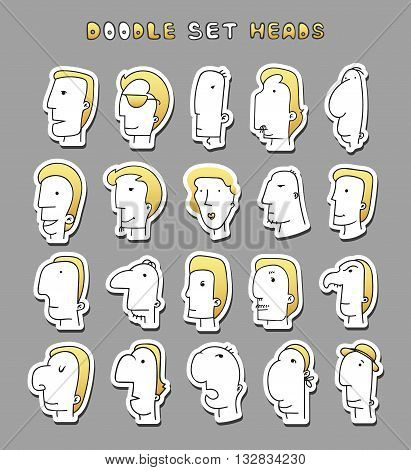 Set of 20 different avatar men characters. Face Boy. Funny characters. Cartoon vector isolated characters. Face men. Face silhouettes