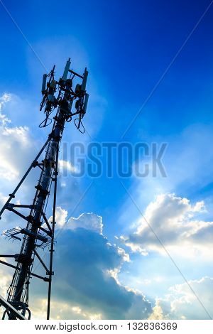 Modern Cellular Tower - Communication Tower with blue sky background