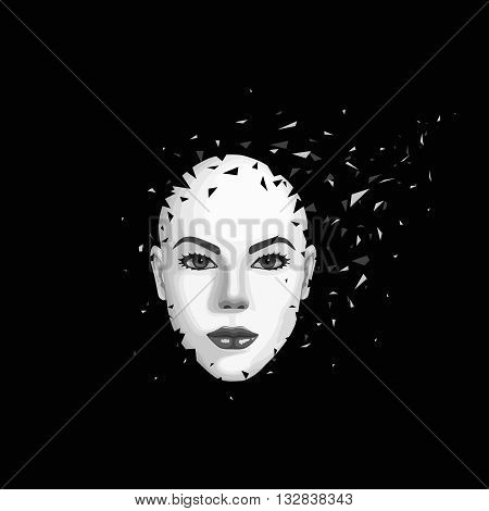 Abstract woman's face breaks into pieces. Vector illustration