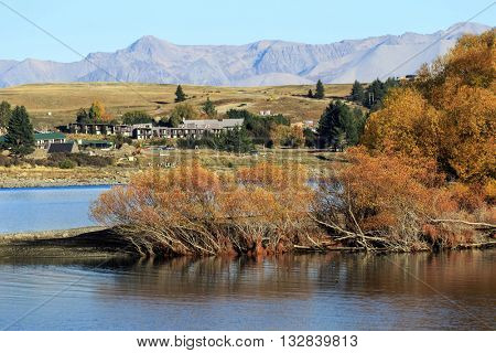 Landscape image of trees, mountains and Tekapo town at Lake Tekapo in New Zealand