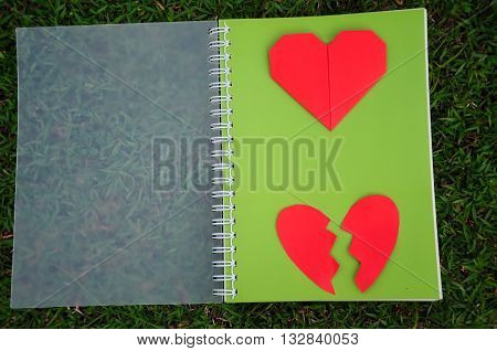 Red heart and broken heart on green diary