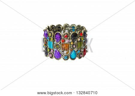 metal bracelet encrusted with colored stones fashion jewelry in oriental style