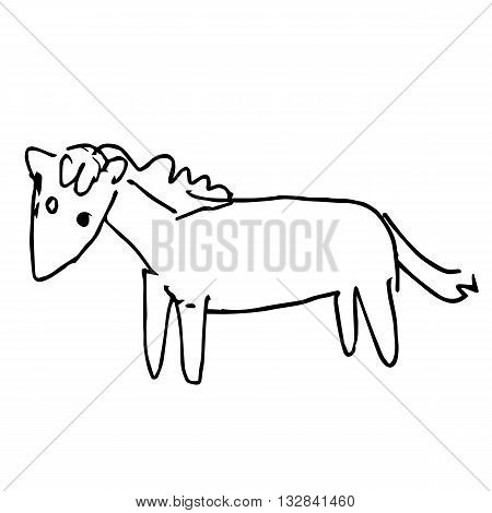 freehand sketch illustration of horse doodle hand drawn in kid style