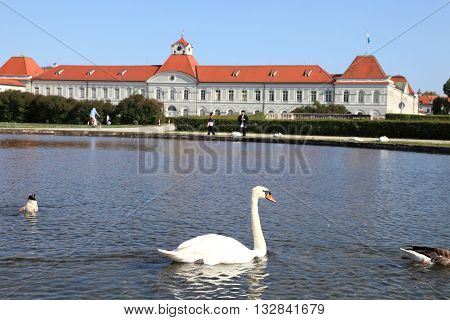 MUNICH,GERMANY- MAY 18, 2011: Swan and lake of Nymphenburg palace on May 18, 2011 in Munich, Germany. It is landmark palace in Munich.