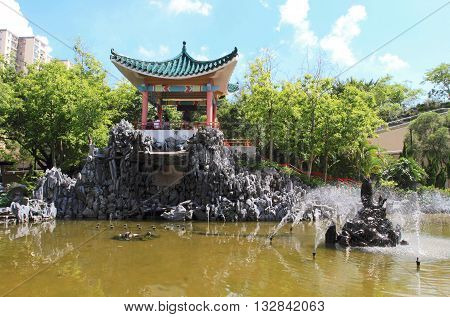 HONG KONG - APRIL 10, 2015: Zen garden of Laichikok on April 10, 2015 in Hong Kong. It is one of the most visited Chinese gardens in Hong Kong.