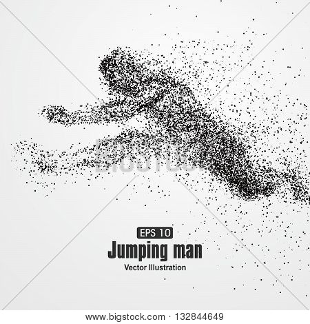 Jumping Man particle divergent composition, vector illustration.