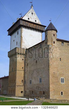NARVA, ESTONIA - MAY 01, 2015: At the ancient castle of Herman. Historical landmark of the city Narva