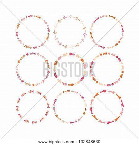 Pink and orange circle border arrows patterns design elements for frameworks and banners - Set 2