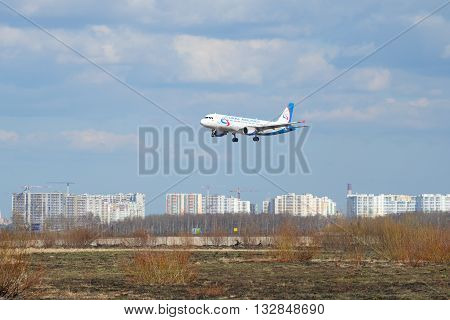 SAINT PETERSBURG, RUSSIA - APRIL 16, 2016: The plane of airline