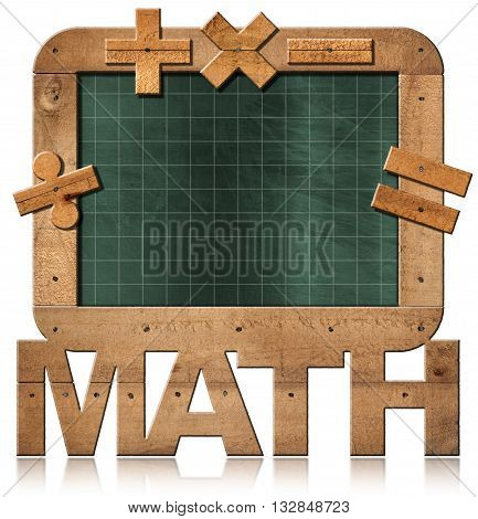 3D illustration of old empty and green blackboard with wooden rectangular frame text Math and mathematical symbols. Isolated on white background