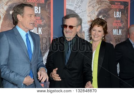 LOS ANGELES - MAY 10:  Bryan Cranston, Steven Spielberg, Melissa Leo at the All The Way LA Premeire Screening at the Paramount Studios on May 10, 2016 in Los Angeles, CA