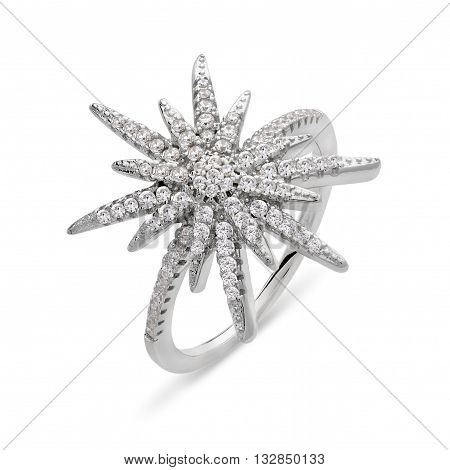 Single Silver Ring With Diamonds In The Form Of Star