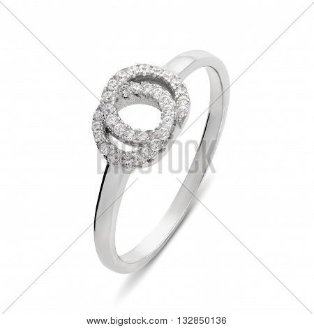 Single Silver Ring With Diamonds Of The Form Of Two Rings