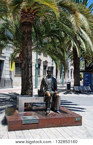 MALAGA, SPAIN - JULY 11, 2008 - Bronze statue of Jose Maria Cordoba on the Paseo del Parque Malaga Malaga Province Andalucia Spain Western Europe, July 11, 2008.