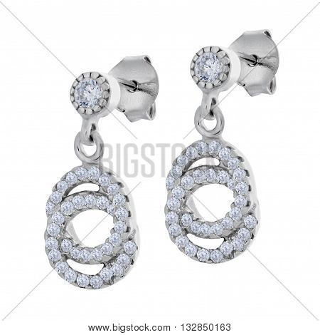 A Pair Of Silver Pendants Earrings With Diamonds In The Shape Of A Two Rings
