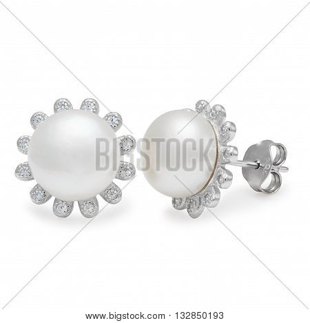 A Pair Of Elegant Pearl And Diamond Stud Earrings