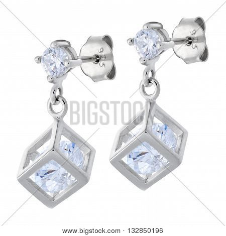 A Pair Silver Pendants Earrings With Diamonds In The Shape Of A Cube