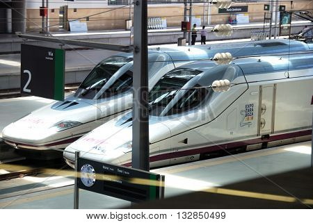 MALAGA, SPAIN - JULY 11, 2008 - AVE high speed trains Zambrano railway station Malaga Malaga Province Andalucia Spain Western Europe, July 11, 2008.