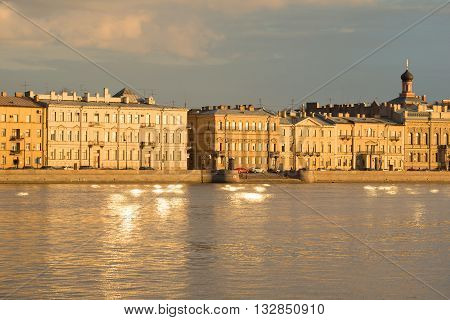 SAINT PETERSBURG, RUSSIA - APRIL 23, 2016: View of the promenade des Anglais, april evening. Historical landmark of the city Saint Petersburg