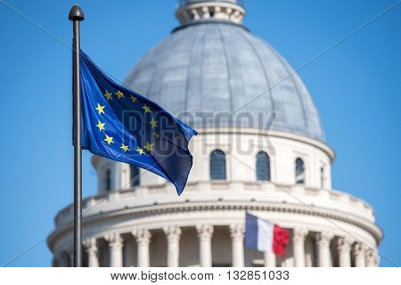 European Flag On Paris Pantheon Capitol