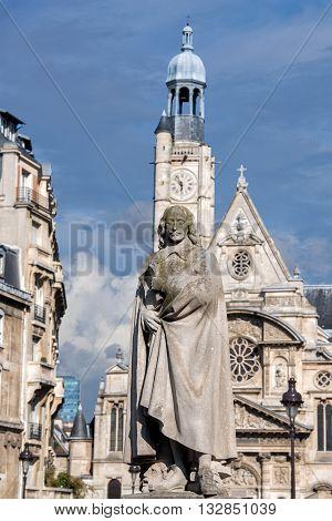 Corneille Statue In Paris With Saint Etienne Du Mont Church