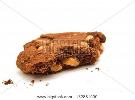 cookies with chocolate and nuts on white background