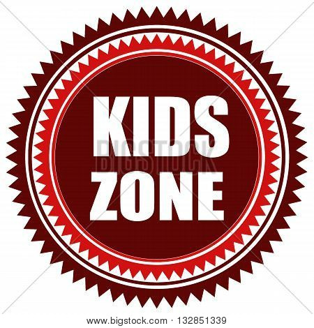 Stamp with text Kids Zone, vector illustration