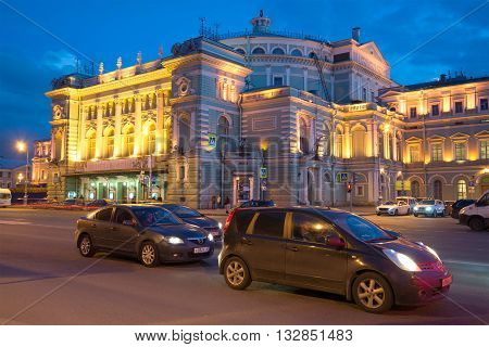 SAINT PETERSBURG, RUSSIA - APRIL 23, 2016: Facade of Mariinsky theatre, april evening. Historical landmark of the city Saint Petersburg