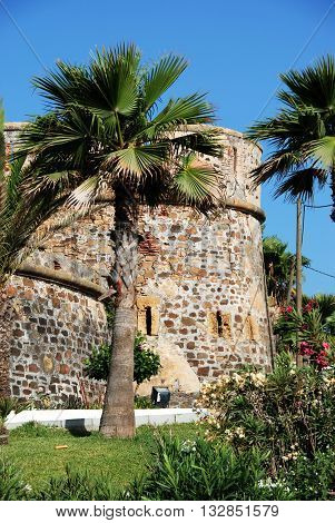 View of the castle with palm trees in the foreground Puerto Duquesa Malaga Province Andalucia Spain Western Europe.