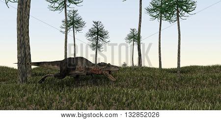 3d illustration of the hunting tarbosaurus