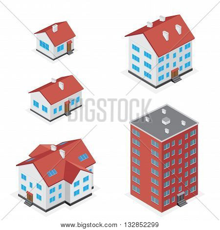 The simple different houses icon set isolated on white background