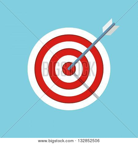 target or objective icon. business objective concept. successful shot in the darts target. dartboard with arrow. isolated on blue background. vector illustration
