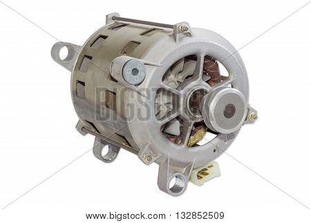 Single phase induction motor with pulley for belt drive for household appliances on a light background