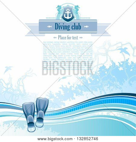 Sea background in blue colors with net, foam, and seagulls and flippers. Copyspace for your text
