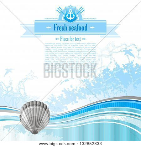 Sea background in blue colors with net, foam, and seagulls and scallop. Copyspace for your text