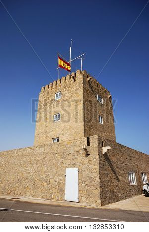 Harbour Masters Office with a Spanish flag on top Puerto Sotogrande Cadiz Province Andalucia Spain Western Europe.