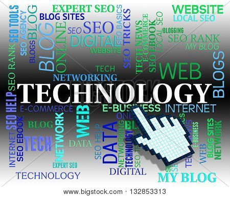 Technology Word Represents Web Site And Electronic