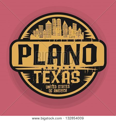 Stamp or label with name of Plano, Texas, vector illustration